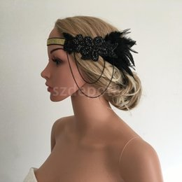 Razas ascot online-Mujer Lady Flapper Feather Beads Chian Diadema Hairband años 20 Gran Gatsby Royal Ascot Race Fascinator