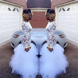 Wholesale evening gowns for girls - 2018 African White Mermaid Lace Prom Dresses for Black Girls Long Sleeves Ruffles Tulle Floor Length Plus Size Evening Prom Gowns Vestidos