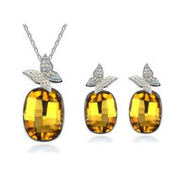 Wholesale Diamond Peacock Earrings - Women Fashion Diamond Crystal Jewelry Set Premium Exaggerated Temperament Rectangle Butterfly Diamond Earring Necklace Jewelry Set