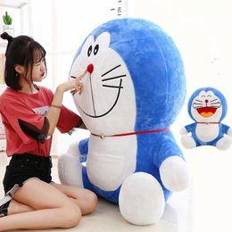 Almohadas de anime online-Kawaii Anime Japonés Doraemon Peluche de Juguete Precioso Suave Jumbo Grasa Azul Muñeca Doraemon Abrazando Almohada para Niños Amigos Regalo 120 cm 100 cm