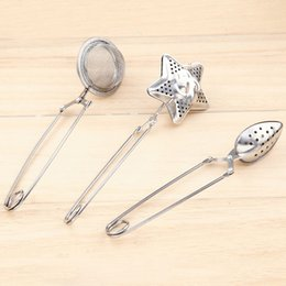 Wholesale Stainless Steel Tea Spoon - 3 Style Star shape Tea Infuser oval-Shaped 304 Stainless Steel Tea strainer Infuser Spoon Filter Tea Tools Free shipping WX9-196