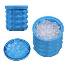 Wholesale Wholesale Bar Ice Buckets - New Ice Cube Maker Genie Space Saving Ice Genie Silicone Ice Bucket Kitchen Bar Auto Tools Drink Holder DDA363