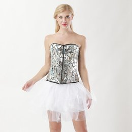Bodysuit branco do dia das bruxas on-line-Lady Bodysuit lantejoulas saia espartilho preto e branco Steampunk Shapewear formadores de cintura das mulheres Body Shaper Halloween Costume espartilho e saia