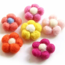 Wholesale Handmade Felt Hair Accessories - 30pcs Lot Wool Needle Felt Flower Handmade Headwear Wool Flower For Diy Fashion Jewelry Hair Garment Accessories Multi Colors