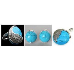 Conjunto de turquesa prata 925 on-line-Azul Vintage Turquoises 925 Sterling Silver Marcasite Ring (# 7-10) pingente e brincos conjuntos fgcb