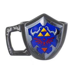 Wholesale Drink Games - Gift Box Novelty Legend of Zelda Shield Ceramic Coffee Mug Game Boy Handgrip Porcelain Drinking Mug Game of Thrones