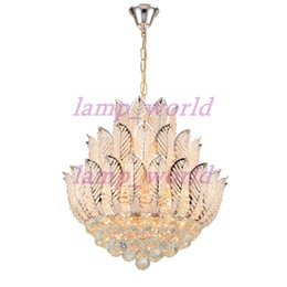 Wholesale free shopping malls - Newly Lotus Flower Gold Crystal Pendant Chandelier For Dining Room Bedroom Hotel Shop ;Crystal Modern Chandelier Free Shipping