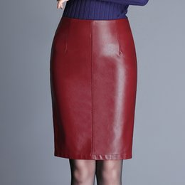 Wholesale Plus Size Pencil Skirts Green - Dwayne Autumn Fashion PU leather Women Skirt Plus Size Casual Knee-Length High Waist Slim Sexy Pencil Skirt Red Black Green