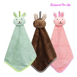 Wholesale Dishcloths Kitchen Towels - TANGNADE Kitchen Cartoon Animal Hanging Cloth Soft Plush Dishcloths Hand Towel Wholesale Free Shipping 3RC12