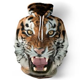 Wholesale Womens Tiger Tops - 3D Animal Print Tiger 3d Hoodies Mens Womens Sweatshirt Pullover Unisex jacket Autumn Winter Long Sleeve Tops