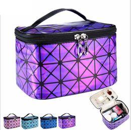 Wholesale portable make up cases - Cosmetic Bag For Women 3D Laser Diamond Pattern Portable Make Up Bag Case Travel Jewelry Organizer Make Up Bag LJJK944
