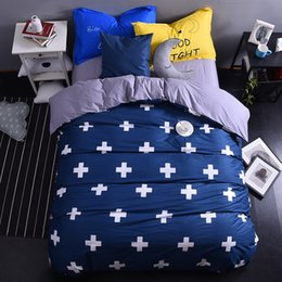 desenho de cruz azul Desconto Atacado-azul marinho cruz moderno conjunto de cama de algodão king size rainha doona / capa de edredão folha de cama fronhas conjunto de roupa de cama