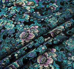 tecido flor preta 3d Desconto Black flower Metallic Jacquard Brocado Tecido, tecido jacquard 3D, fios de tecido tingido para o Vestido Das Mulheres Casaco Damasco Brocado 75 * 50 cm