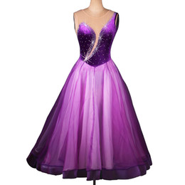 Wholesale Competition Dresses - 2018 Luxury Ballroom Dance Competition Dresses DL022 Ballroom Dancing Dress Flamenco Dresses Shinning Rhinestones Appliques Purple