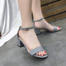 Canada Nouveau été femmes chaussures tout-match talons hauts sandales sexy tempérament épais talon ouvert orteils sandales mode féminine talons romains chaussures noir gris Offre
