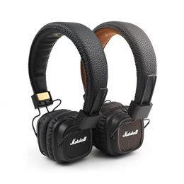 Auriculares dj auriculares online-Marshall Major II Auriculares con micrófono Diadema Bass Bass Monitor de estudio Rock DJ Headphones Hi-Fi Auriculares Marrón Negro