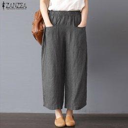 ca25fb77c6 2019 ancho pantalones de algodón pantalones mujer ZANZEA Casual cintura  elástica mujer pantalones anchos de pierna