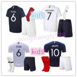 Wholesale National Teams - POGBA soccer Jersey 2018 World Cup france kids home blue 18 19 maillot de foot MBAPPE GRIEZMANN KANTE national team youth football shirt