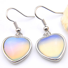 glasses china Promo Codes - Luckyshine Newest 2pieces lot 925 silver plated small and exquisite Moonstone Glass crystal Earring jewelry free shipping EA030