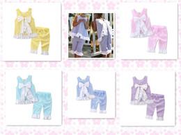 Wholesale Wholesale Zentai Suits - Fashion Hot Sale Europe Summer girls pure lace bowknot suit back down Two pieces suit Multi color Pure cotton good Free Shipping
