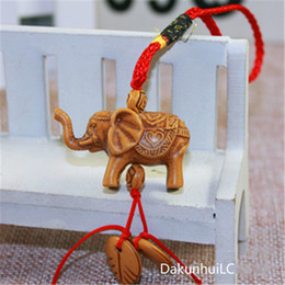 wholesale carved wood pendants Promo Codes - Lucky Elephant Carving Wooden Pendant Keychain Key Ring Chain Evil Defends Gift
