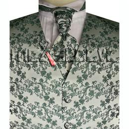 Wholesale Tuxedo Ascot Tie - New Design Men's Tuxedo mix green flower waistcoat+ascot tie+hanky+cufflinks