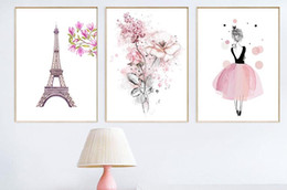 hada rosa arte de la pared Rebajas Nordic Flower Pink Fairy Paris Art Flowers 3 Panel Canvas Painting Decoracion Quadro Mural Wall Art Pictures para sala de estar