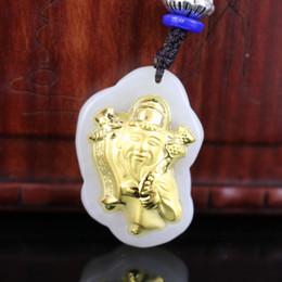 коробка богатства Скидка Natural White Hetian Jade Necklace Pendant God of wealth Gold Beautiful Box Bag Certified For Men Women High Quality