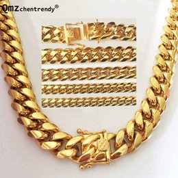 Wholesale steel curb - HIP HOP 8mm 10mm 12mm 14mm Stainless Steel Curb Cuban Chain Necklace Boys Mens Fashion Chain Dragon Clasp Link hiphop jewelry