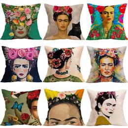 2019 decoração de fibra Frida Caro auto-retrato fronha capa de almofada de fibra de linho capa de almofada de sofá fronha capa de almofada decoração presentes desconto decoração de fibra