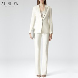 4e2599bd6b66 Custom Womens Business Work Suits Formal Evening 2 Piece Pant Suits Female  Office Uniform One Button Ladies Tro
