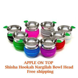 Wholesale Hookah Shisha Charcoal - Smoking Dogo shisha hookah apple bowl hookah head charcoal holder Silicone Apple on Top Bowl in stock fast shipment 50 pieces up
