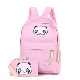 Wholesale Cute Panda Backpacks - 2017 New Fashion Canvas Backpack Schoolbags School For Girl Teenagers Panda Casual Children Travel Bags Rucksack Cute Printing