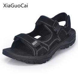 Wholesale Handmade Canvas Shoes - Xiaguocai 2017 New Arrival Genuine Leather Men Sandals Handmade Solid Male Sandals Plus Size 46, 47 Brand Shoes X1373 35