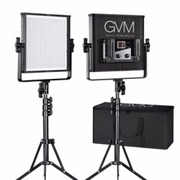 Paneles de fotografia online-GVM Dimmable Video LED Panel de luz para Photography Studio 520 Lamp Beads 3200K-5600K LED Studio Lighting con soporte de kit