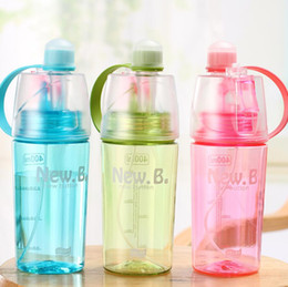 Wholesale kids water cooler - 400ml 600ml Creative Sport Drinking Spraying Water Bottle Portable Moisturizing Cooling Kettle For Kids Summer Gift NNA283
