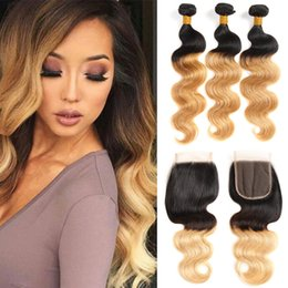 human hair body waves two tone Promo Codes - 8A Two Tone 1B 27 Honey Blonde Dark Roots Peruvian Ombre Body Wave Virgin Human Hair Bundles With Free Middle 3Part Lace Closure