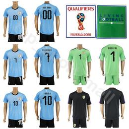 Wholesale uruguay soccer - Men Soccer 7 Cristian Rodriguez Uruguay Jersey Set 2018 World Cup 10 Diego Forlan 16 Maxi Pereira Football Shirt Kits Blue With Short Pant