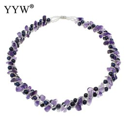 Wholesale Purple Glass Seed Beads - New Fashion Purple Natural Pearl And Glass Seed Beads Necklaces Women Party Fine Jewelry Bridal Charm Pearls Necklace Jewelry