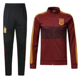 Wholesale Tracksuits Jacket Pants - top quality 2018 Spain Jacket tracksuit SERGIO RAMOS A.INIESTA ASENSIO ISCO PIQUE Soccer jersey Jogging Football Pants Chaqueta