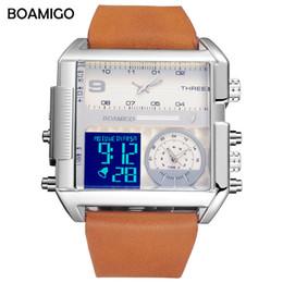 Reloj de la marca boamigo online-Hombres 3 zona horaria relojes BOAMIGO marca hombre deportes analógico digital relojes cuero rectángulo reloj de pulsera reloj de regalo a prueba de agua