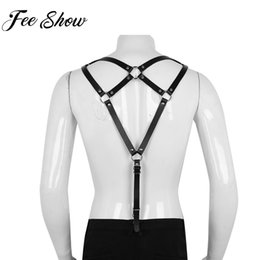 mens harnesses Coupons - Feeshow Mens Leather Harness Suspenders Harajuku Accessories Punk Man Body Harness Belts with Metal O-Rings Cosplay Costumes