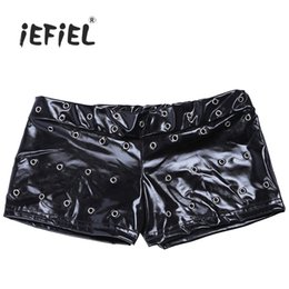 Wholesale Leather Shorts Elastic Waist - iEFiEL Black Sexy Women Patent Leather Skinny Wetlook Shorts Clothing for Women's Clubwear for Party Dance Club Size M-XXL