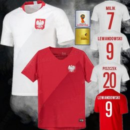 Wholesale National Team Soccer Uniforms - Best quality 2018 World Cup Poland Soccer Jersey Home White Away Red 9 LEWANDOWSKI 7 Milik 20 PISZCZEK polska national team football uniform