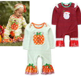 d0a64e434710 Christmas Halloween Baby boys girls ruffle romper infant Santa Claus  pumpkin stripe print Jumpsuits 2018 Autumn kids Climbing clothes C4847