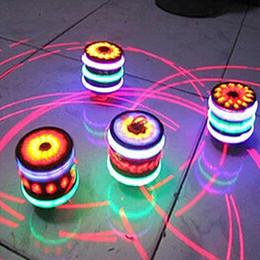 2019 bunte flash-spinnerei Leuchtender hölzerner nachgemachter Kreisel des bunten Kreisels der Musik kreiselnder Kreisel rabatt bunte flash-spinnerei