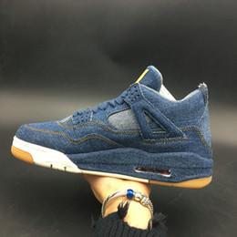 jeans di lycra Sconti 2018 Alta qualità 4 jeans denim Travis Jean Men IV 4S Scarpe da ginnastica blu nero Sneakers Scarpe da basket