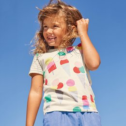 Wholesale Ice Cream T Shirts - Unicorn Summer Girls Tops & Tees Baby Girl Clothes Short Sleeve Cotton Kids T Shirts Striped Ice Cream Printed Baby Clothing Tees