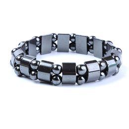 Wholesale gold bracelets for health - High Quality100% Natural Stone No Magnetic Hematite Health Bracelet for women Men Black Power Crystal healing Bangle