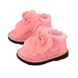 Autumn and winter thick plush warm pink butterfly knot soft bottom Baby Shoes  For Warm Baby Plush Boots Shoes 74e9b6f44489